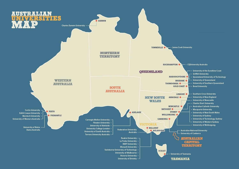 Các trường đại học của Úc theo bang và lãnh thổ