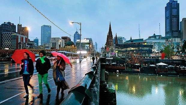 Thời tiết ở Melbourne Úc thường mưa vào mùa đông