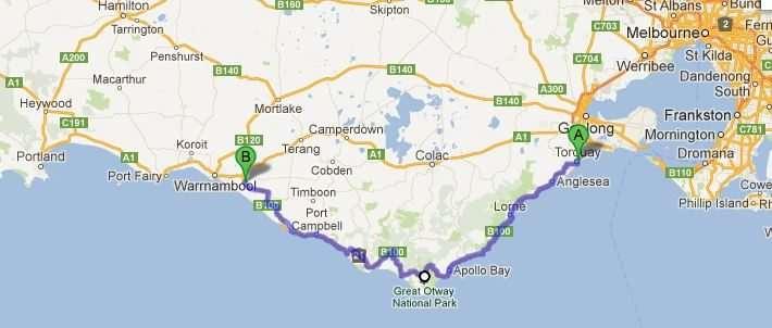 Bản đồ Great Ocean Road Australia map