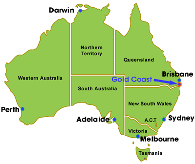 Gold Coast map trên bản đồ nướcÚc