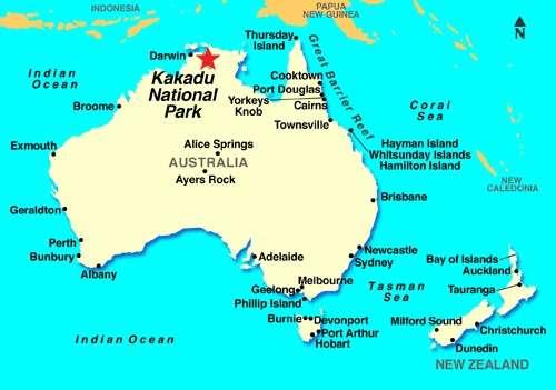 Bản đồ vườn quốc gia Kakadu Australia map