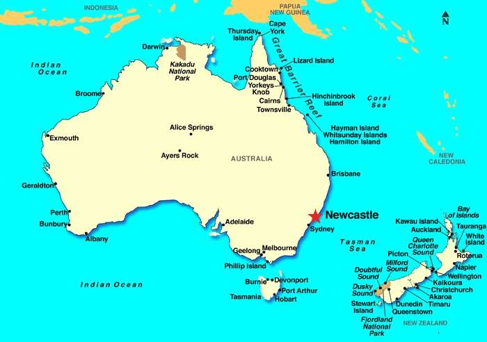 Bản đồ Newcastle Australia map