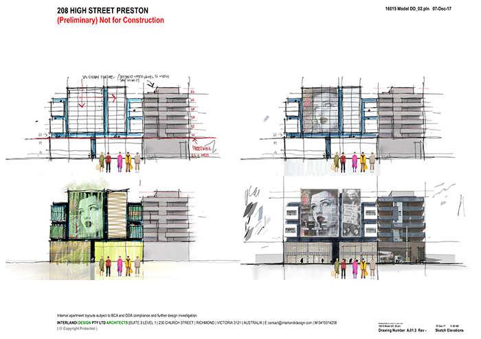 Bản phác thảo mặt tiền của dự án