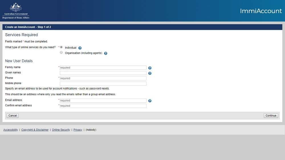 Cách tạo tài khoản xin visa Úc online