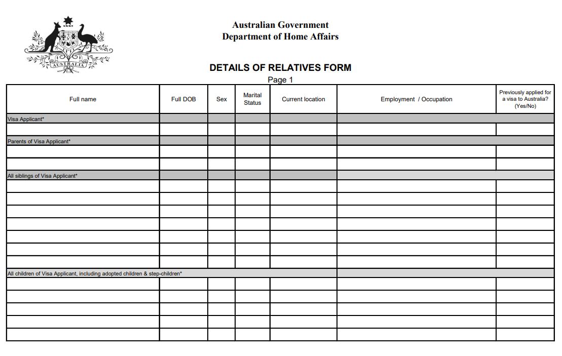 Mẫu tờ khai thân nhân xin visa Úc