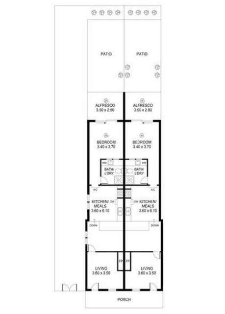 Sơ đồ mặt bằng hai ngôi nhà liền kềở Bắc Adelaide bang Nam Úc 2020