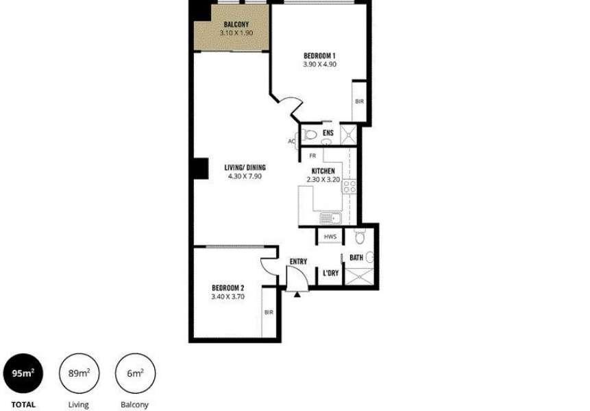 Sơ đồcăn hộ 2 phòng ngủ ở Adelaide bang Nam Úc 2020