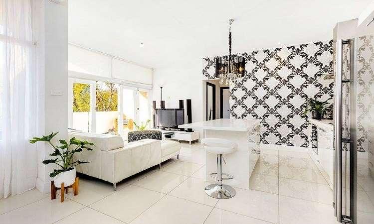 Phòng khách chung không gian với phòng bếp ấm cúng