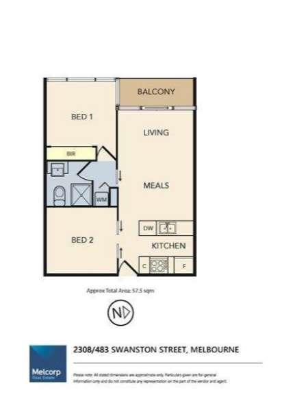 Sơ đồ mặt bằng căn hộ chung cư hai phòng ngủ ở Melbourne