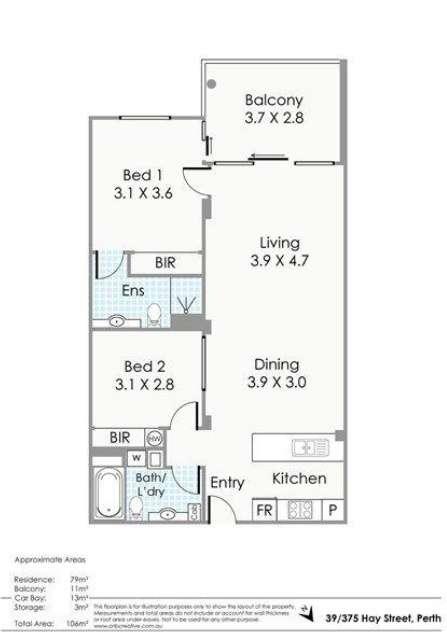 Sơ đồ mặt bằng căn hộ chung cư ở Perth Australia