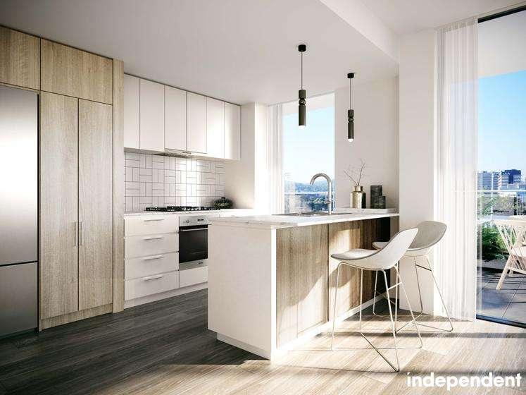 Bếp căn hộ chung cư hiện đại với các thiết bị cao cấp