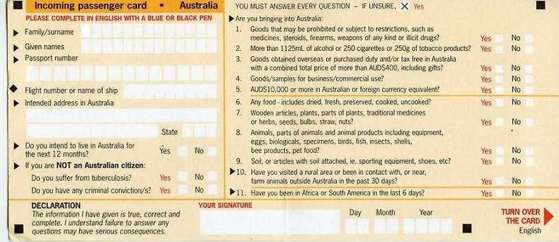 Download tờ khai nhập cảnh Úc mặt trước