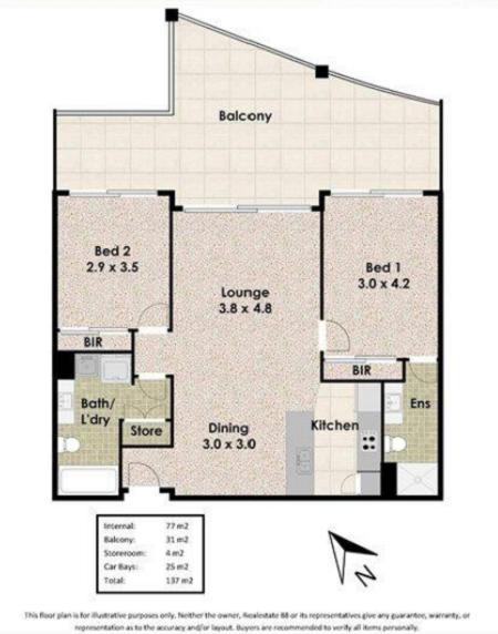 Sơ đồ mặt bằng căn hộ ở Perth Úc 2020 hai phòng ngủ