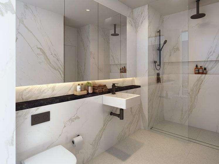 Phòng tắm ốp đá vân sang trọng