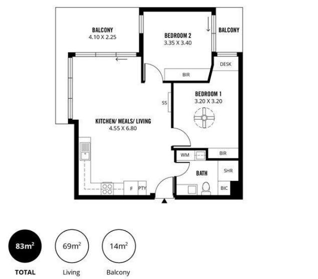 Sơ đồ mặt bằng căn hộ chung cư 2 phòng ngủ thành phố Adelaide